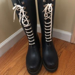 Knee high Isle Jacobsen blue rain boots